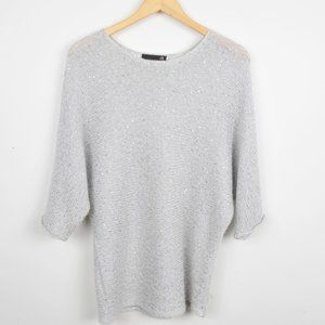Laura Petites Grey Oversized Sweater with sparkles/sequins/batwing sleeve Medium